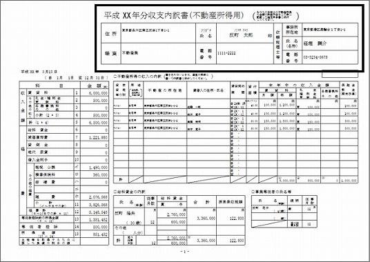 不動産投資 青色申告 帳簿 不動産収支内訳書