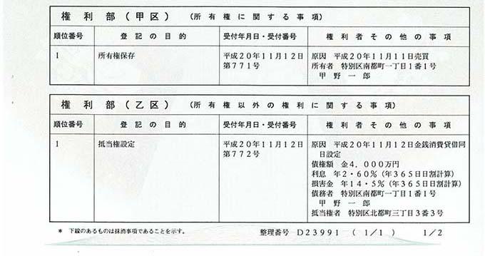 マンション 登記簿 謄本 見方 登記事項証明書(権利部)