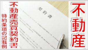 不動産売買契約書の特約条項の記載例